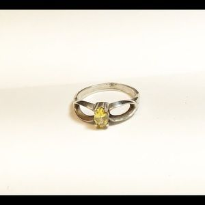 Sterling Silver & Yellow Cubic Zirconia Ring, 7.